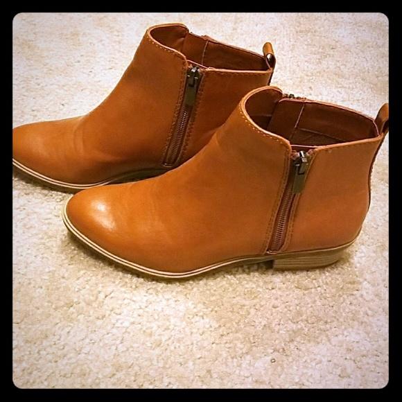 51551c5b5efb7 Chaps Shoes | Sabra Zipper Ankle Boots Tan Calfskin | Poshmark